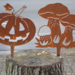 Gartenstecker Kürbis und Pilze Rostoptik